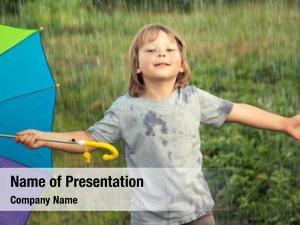 Umbrella happy boy outdoors, child