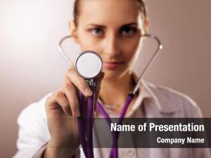 Doctor close up female using stethoscope