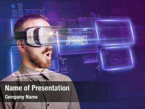 Through businessman looking virtual reality