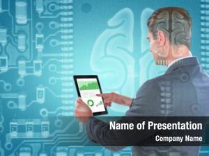 Tablet businessman using against human