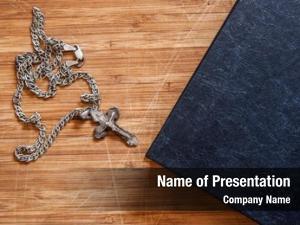 Christian closeup silver cross bible