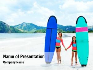 Are mom child learning surfing