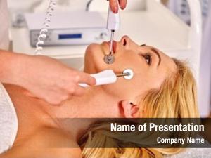 Receiving close woman electric facial