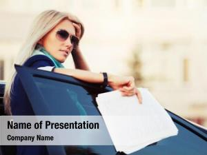 Financial business woman papers car
