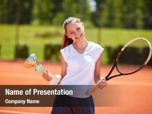 Winner young female tennis match