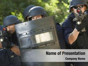 Shield policemen guns training