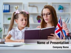 Learning young girl english teacher