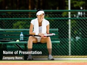 Tennis successful female player rests