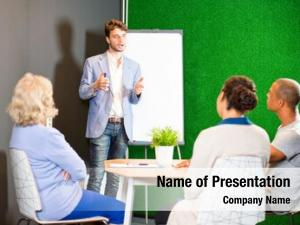 Giving young associate presentation, using