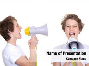 Shouting teen boy into megaphone