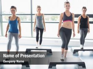 Doing four women aerobics gym