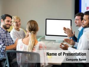 Colleague coworkers applauding during video