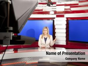 Studio television anchorwoman during live