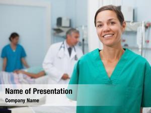 Hospital nurse standing room doctor