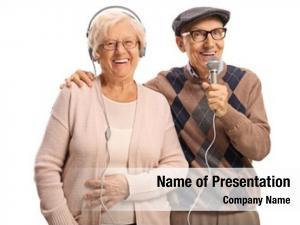 Headhpones elderly woman elderly man