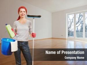Cleaning senior woman supplies making