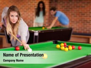 Playing student woman snooker student