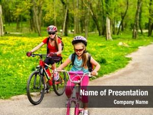 Cycling glasses mother and daughter on bicycle