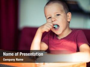 Boy portrait cute eating ice
