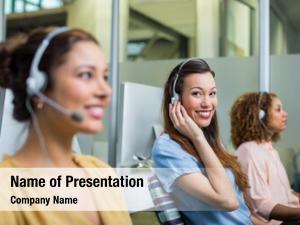 Customer smiling female service executive