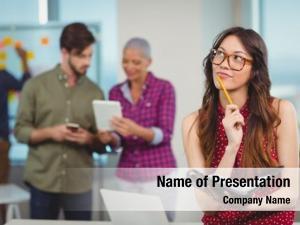 Business executive thoughtful female executive