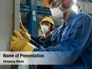 Two blue collar powerpoint theme