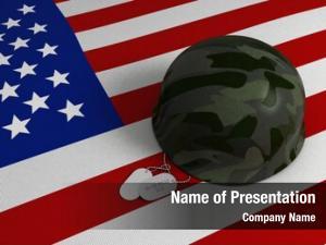 Military illustration flag, helmet, dog