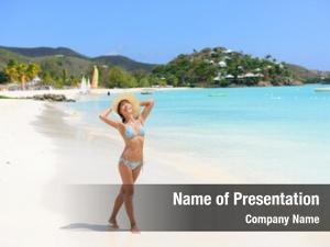 Woman happy beach bikini wearing