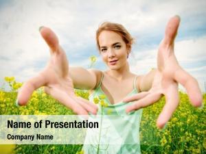 Standing romantic girl yellow meadow