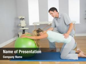 Patient physiotherapist controlling doing exercise