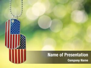 Dog american flag tags hanging