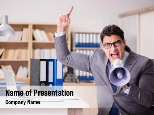Businessman with loudspeaker powerpoint background