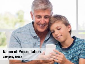 Using grandfather grandson mobile phone
