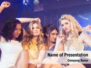 Posing pretty girls smiling nightclub