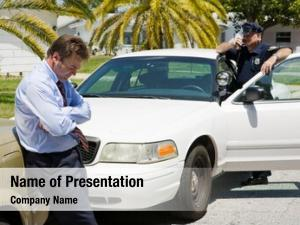 Businessman embarrassed looking pulled over