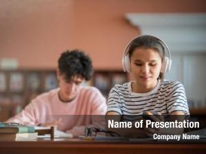 Student pretty college headphones scrolling
