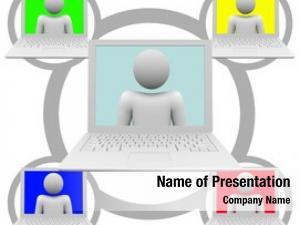 Grid social network white laptop