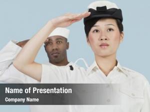 Female portrait serious navy officer