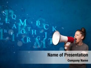 Shouting young girl into megaphone
