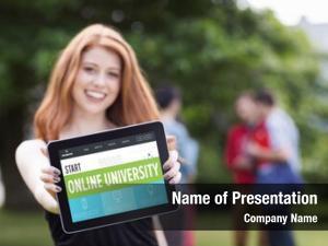 Interface online university against pretty