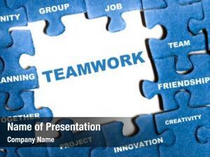 Puzzle teamwork blue pieces assembled