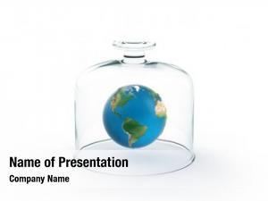 Floating earth globe under glass