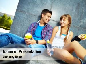 Teens couple happy apples chatting