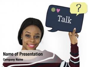 Information speech woman holding