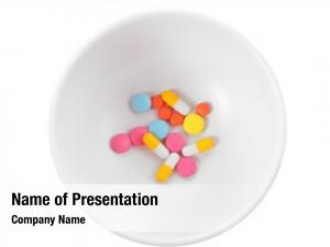 Assorted bowl colorful pills white