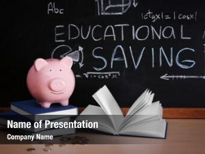 Books piggy bank coins blackboard