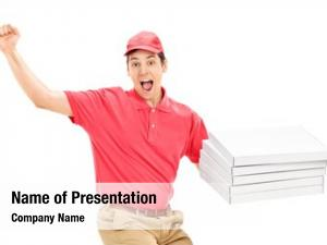 Delivery overjoyed pizza guy white