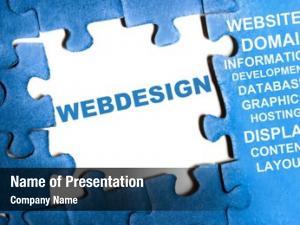 Puzzle webdesign blue pieces assembled