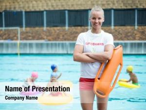 Lifeguard rescue can portrait of confident female
