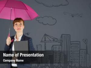 Umbrella business woman against grey